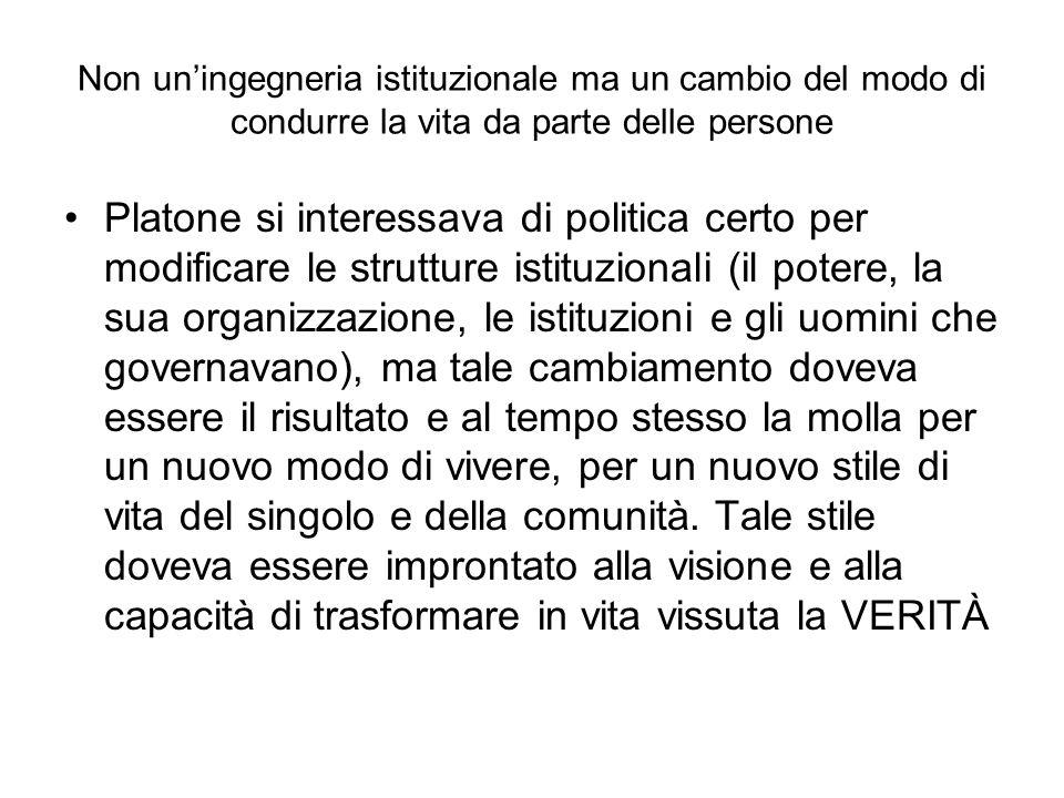 Non uningegneria istituzionale ma un cambio del modo di condurre la vita da parte delle persone Platone si interessava di politica certo per modificar