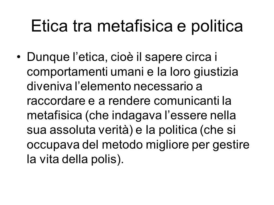 Etica tra metafisica e politica Dunque letica, cioè il sapere circa i comportamenti umani e la loro giustizia diveniva lelemento necessario a raccorda