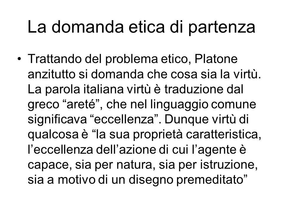 La domanda etica di partenza Trattando del problema etico, Platone anzitutto si domanda che cosa sia la virtù. La parola italiana virtù è traduzione d