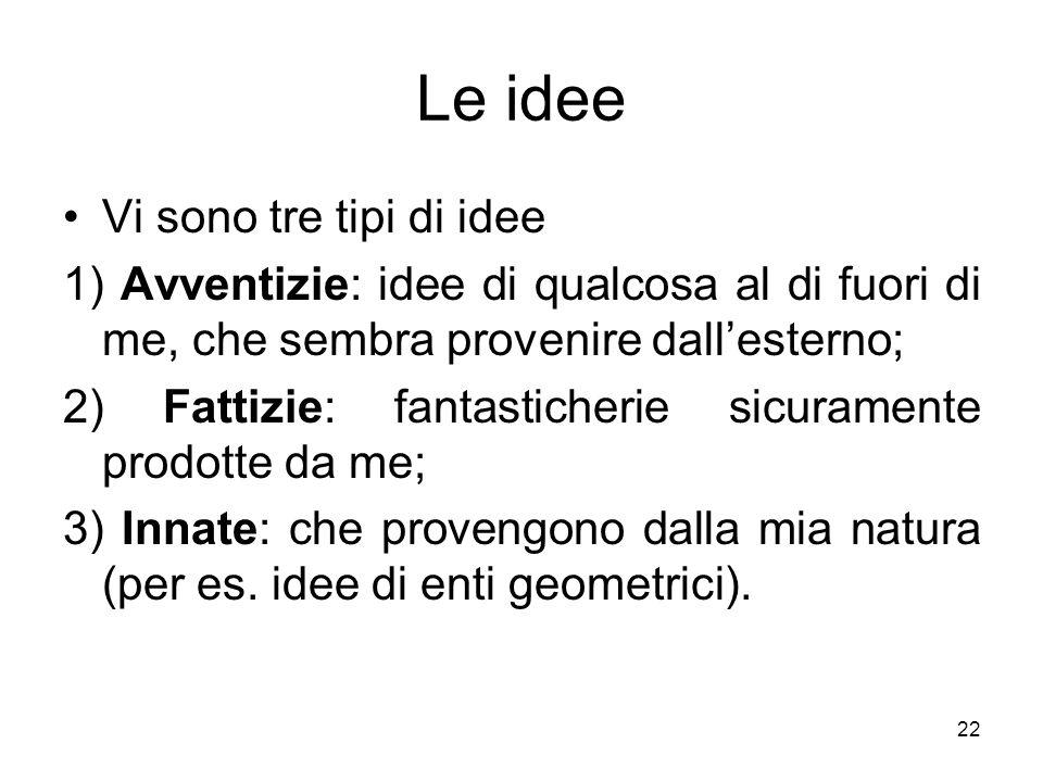 Le idee Vi sono tre tipi di idee 1) Avventizie: idee di qualcosa al di fuori di me, che sembra provenire dallesterno; 2) Fattizie: fantasticherie sicu