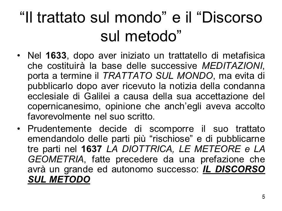 Il trattato sul mondo e il Discorso sul metodo Nel 1633, dopo aver iniziato un trattatello di metafisica che costituirà la base delle successive MEDIT