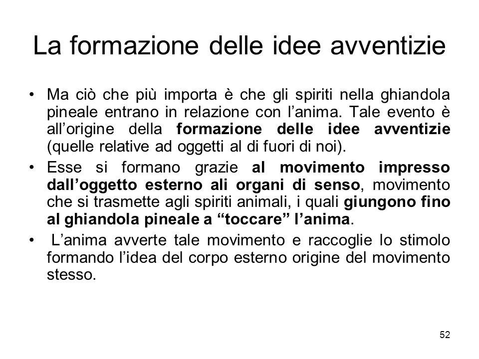 La formazione delle idee avventizie Ma ciò che più importa è che gli spiriti nella ghiandola pineale entrano in relazione con lanima. Tale evento è al