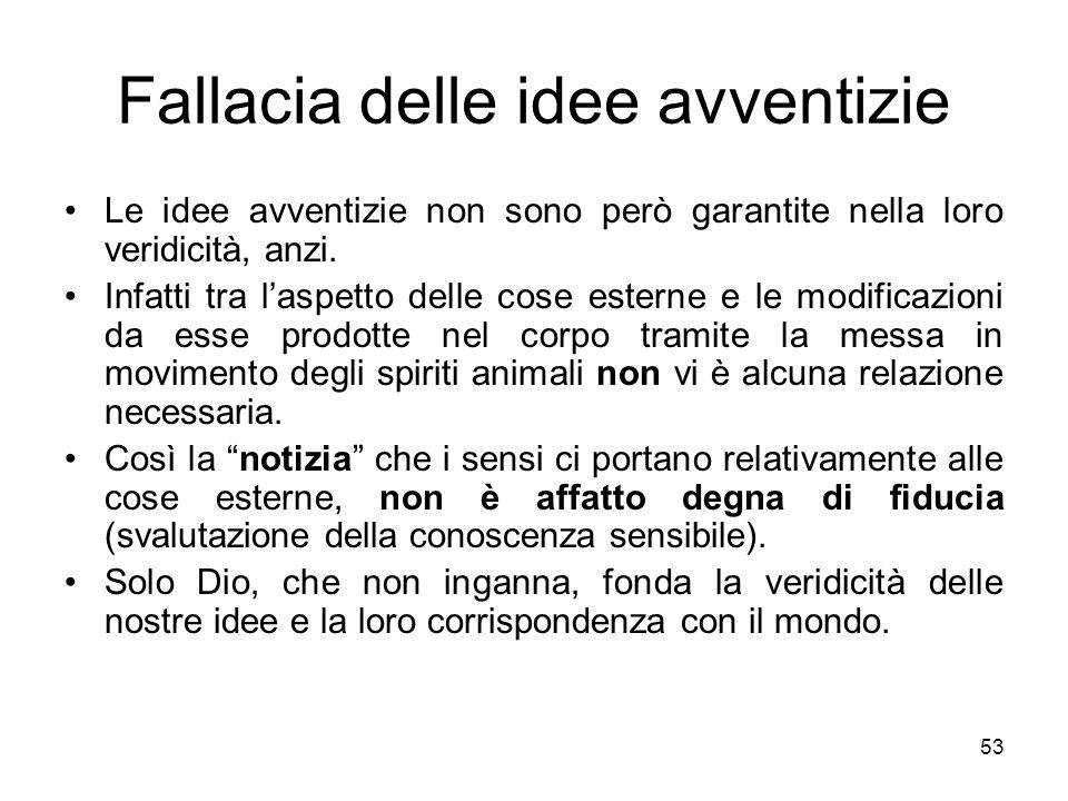 Fallacia delle idee avventizie Le idee avventizie non sono però garantite nella loro veridicità, anzi. Infatti tra laspetto delle cose esterne e le mo