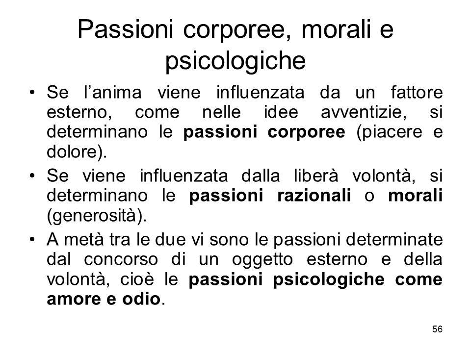 Passioni corporee, morali e psicologiche Se lanima viene influenzata da un fattore esterno, come nelle idee avventizie, si determinano le passioni cor