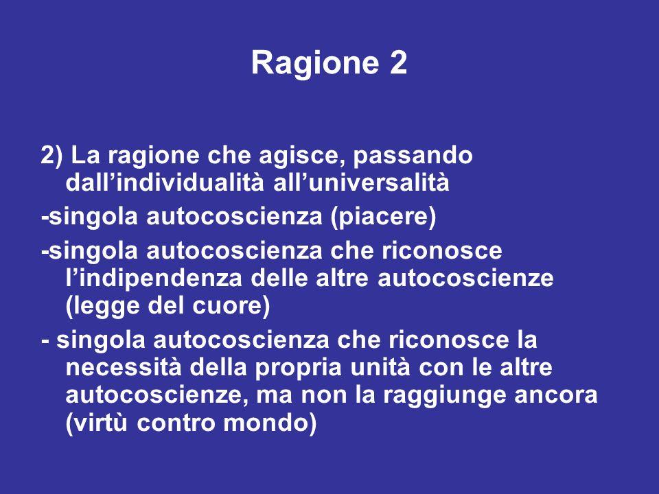 Ragione 2 2) La ragione che agisce, passando dallindividualità alluniversalità -singola autocoscienza (piacere) -singola autocoscienza che riconosce l