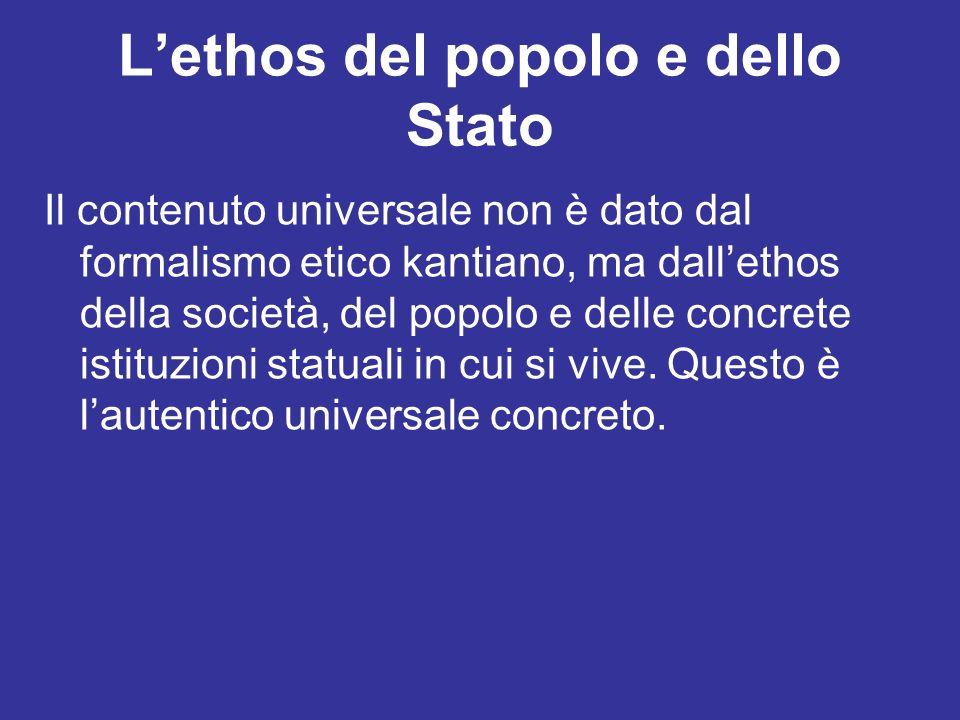 Lethos del popolo e dello Stato Il contenuto universale non è dato dal formalismo etico kantiano, ma dallethos della società, del popolo e delle concr