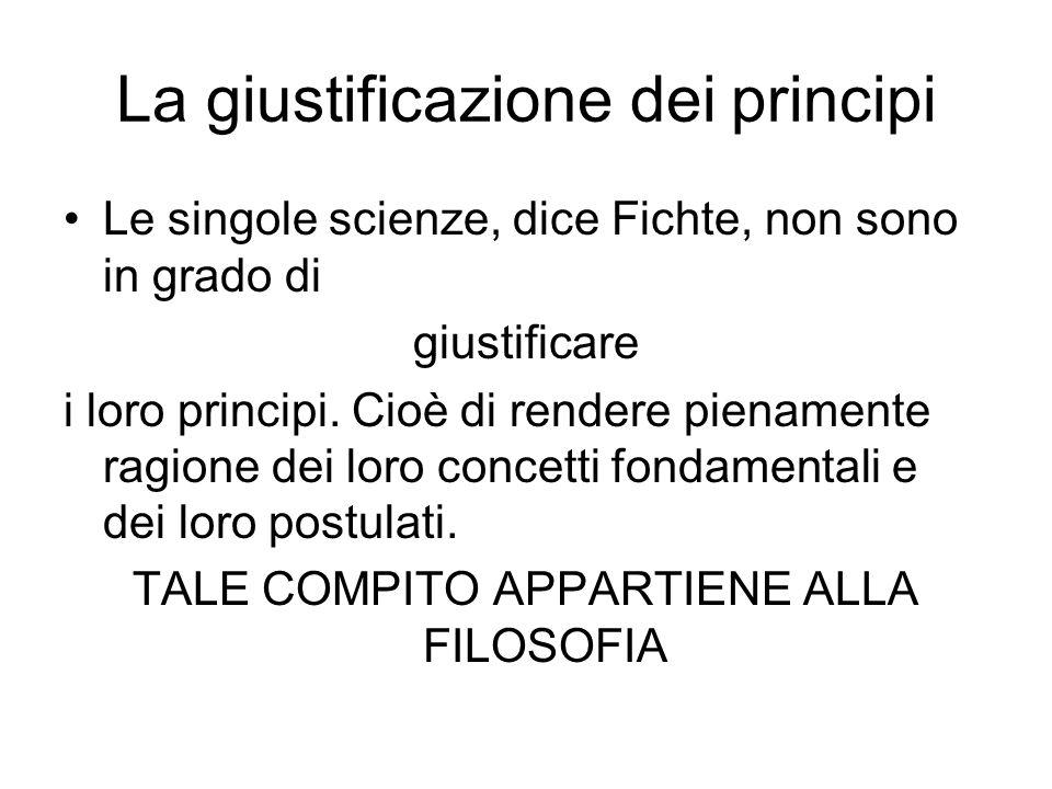 La giustificazione dei principi Le singole scienze, dice Fichte, non sono in grado di giustificare i loro principi. Cioè di rendere pienamente ragione