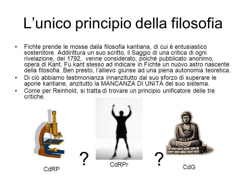 Lunico principio della filosofia Fichte prende le mosse dalla filosofia kantiana, di cui è entusiastico sostenitore. Addirittura un suo scritto, il Sa
