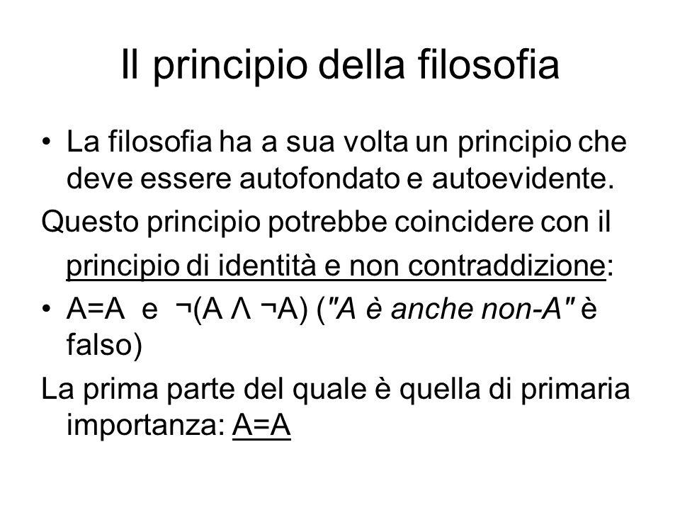Il principio della filosofia La filosofia ha a sua volta un principio che deve essere autofondato e autoevidente. Questo principio potrebbe coincidere