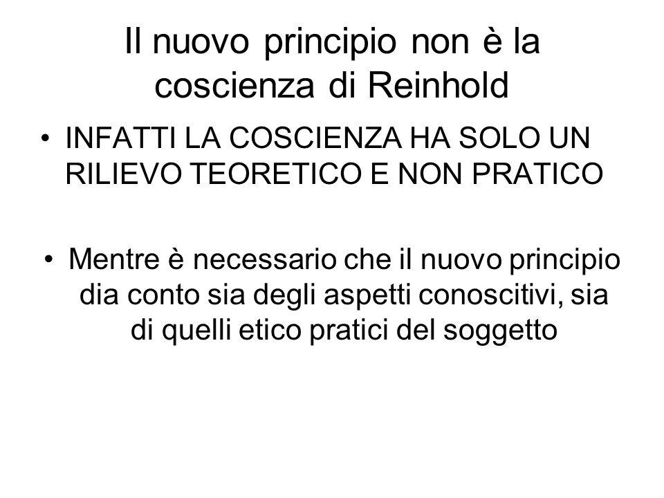 Il nuovo principio non è la coscienza di Reinhold INFATTI LA COSCIENZA HA SOLO UN RILIEVO TEORETICO E NON PRATICO Mentre è necessario che il nuovo pri