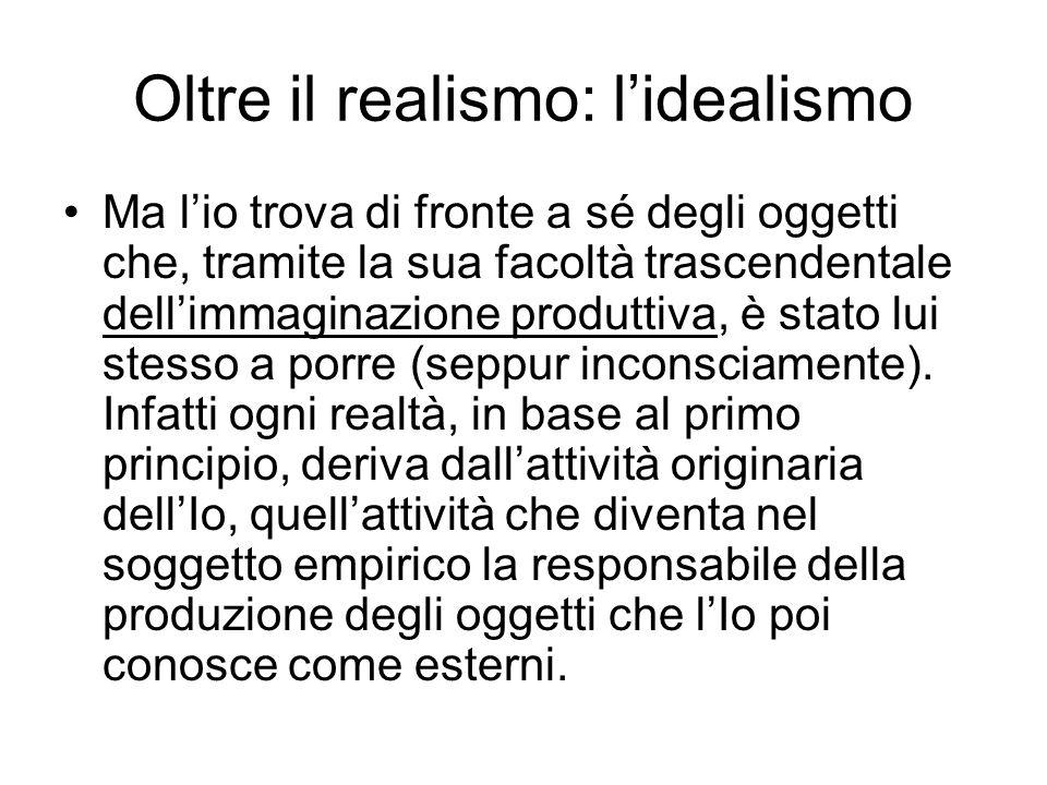 Oltre il realismo: lidealismo Ma lio trova di fronte a sé degli oggetti che, tramite la sua facoltà trascendentale dellimmaginazione produttiva, è sta