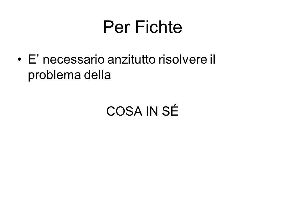 Per Fichte E necessario anzitutto risolvere il problema della COSA IN SÉ