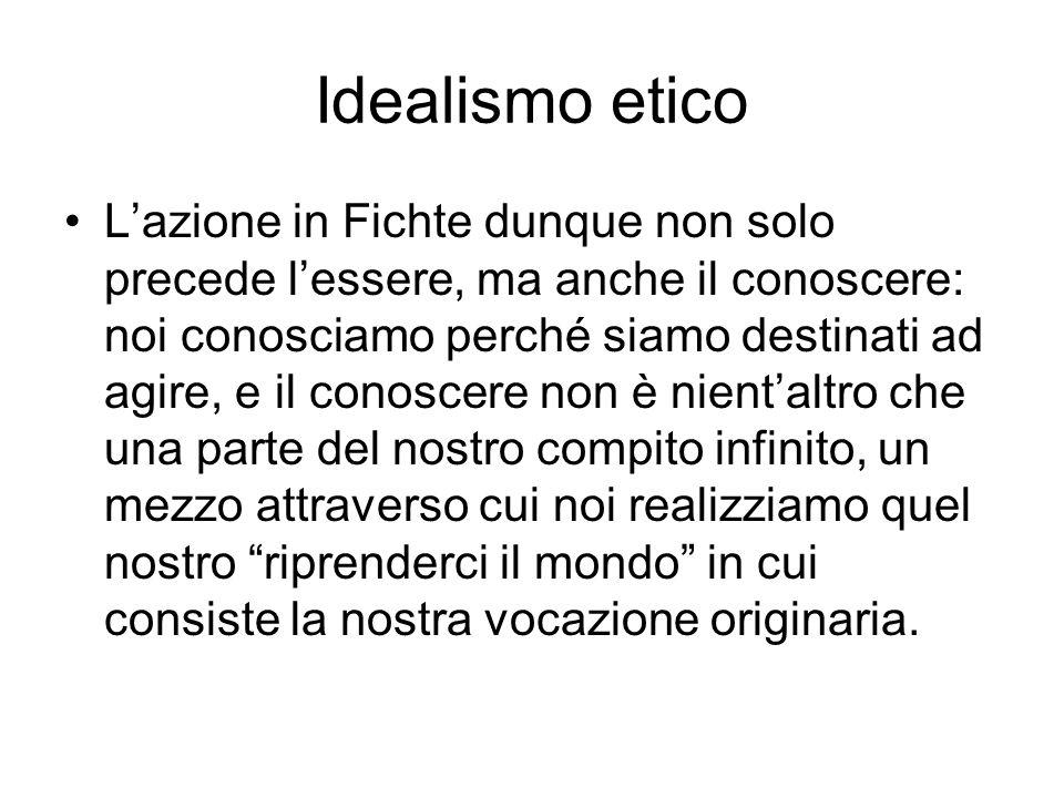 Idealismo etico Lazione in Fichte dunque non solo precede lessere, ma anche il conoscere: noi conosciamo perché siamo destinati ad agire, e il conosce