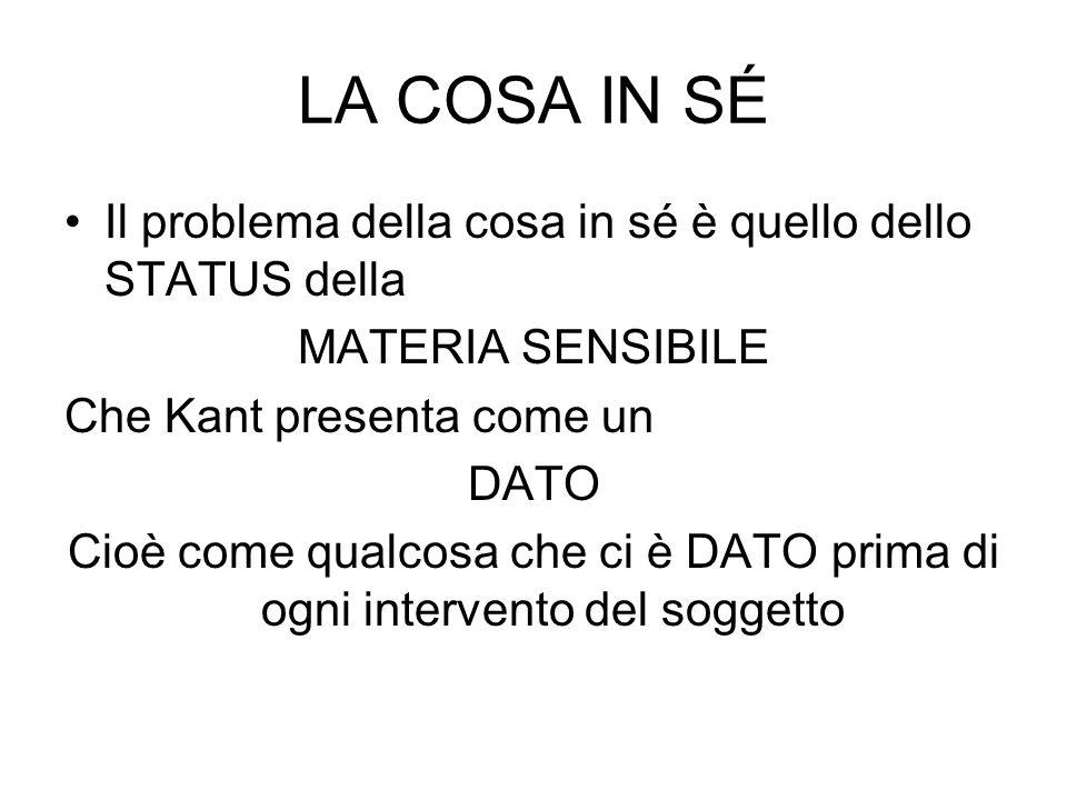 LA COSA IN SÉ Il problema della cosa in sé è quello dello STATUS della MATERIA SENSIBILE Che Kant presenta come un DATO Cioè come qualcosa che ci è DA