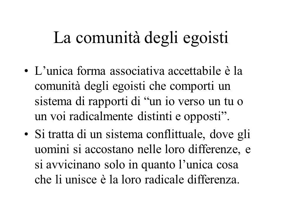 La comunità degli egoisti Lunica forma associativa accettabile è la comunità degli egoisti che comporti un sistema di rapporti di un io verso un tu o