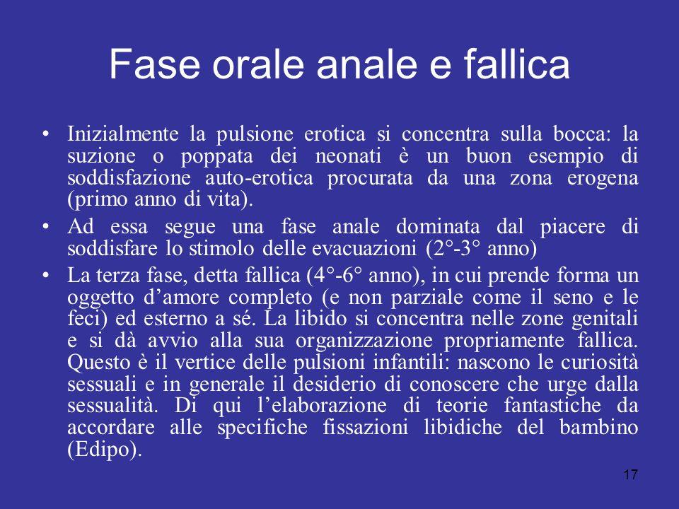 17 Fase orale anale e fallica Inizialmente la pulsione erotica si concentra sulla bocca: la suzione o poppata dei neonati è un buon esempio di soddisf