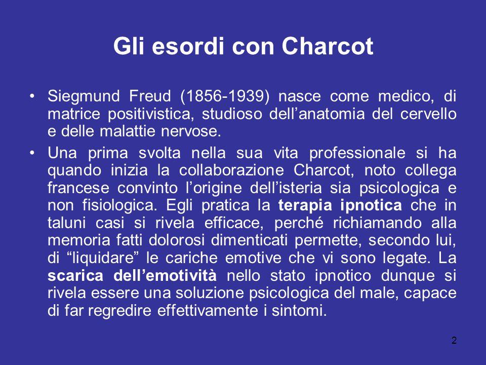 2 Gli esordi con Charcot Siegmund Freud (1856-1939) nasce come medico, di matrice positivistica, studioso dellanatomia del cervello e delle malattie n