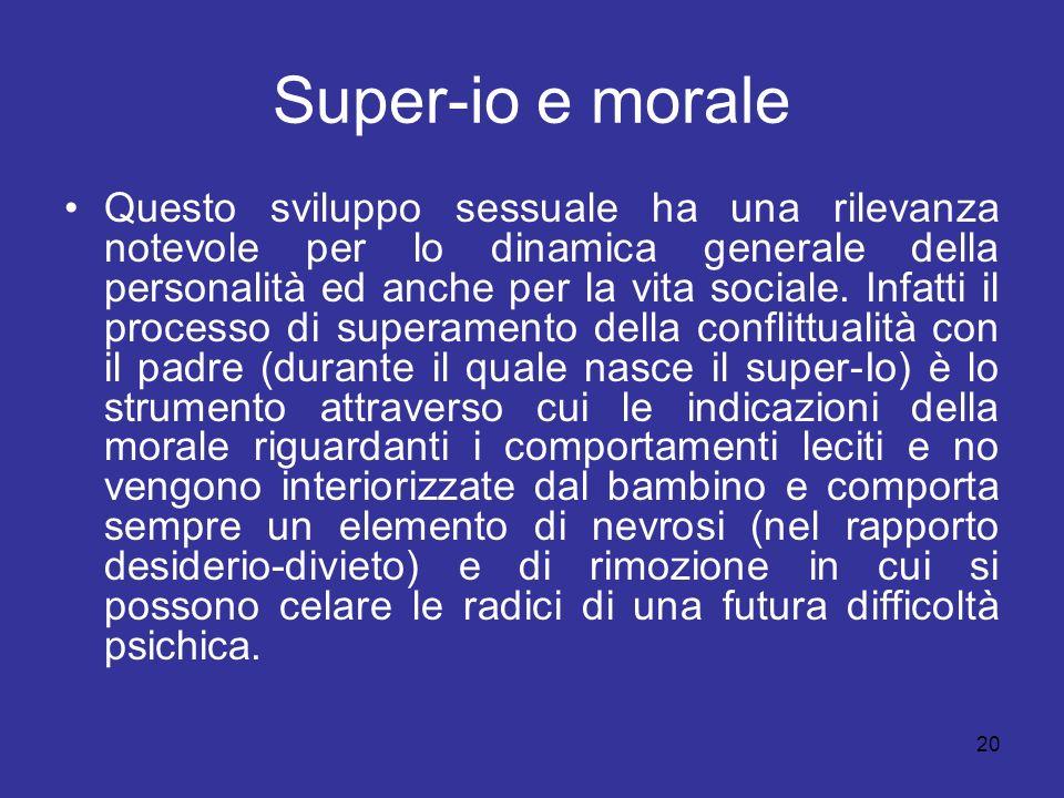 20 Super-io e morale Questo sviluppo sessuale ha una rilevanza notevole per lo dinamica generale della personalità ed anche per la vita sociale. Infat