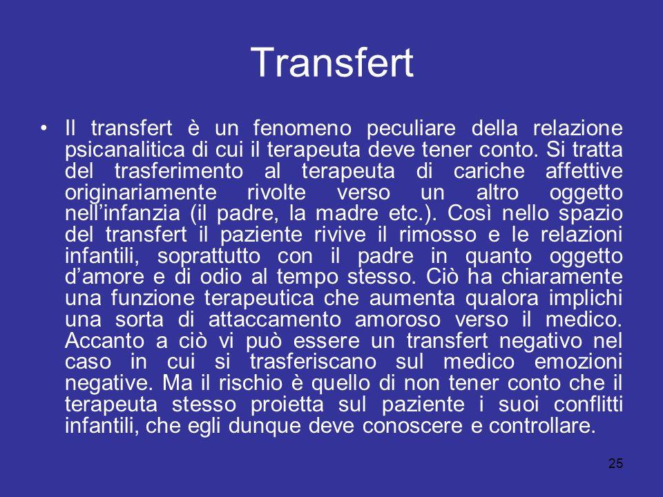 25 Transfert Il transfert è un fenomeno peculiare della relazione psicanalitica di cui il terapeuta deve tener conto. Si tratta del trasferimento al t