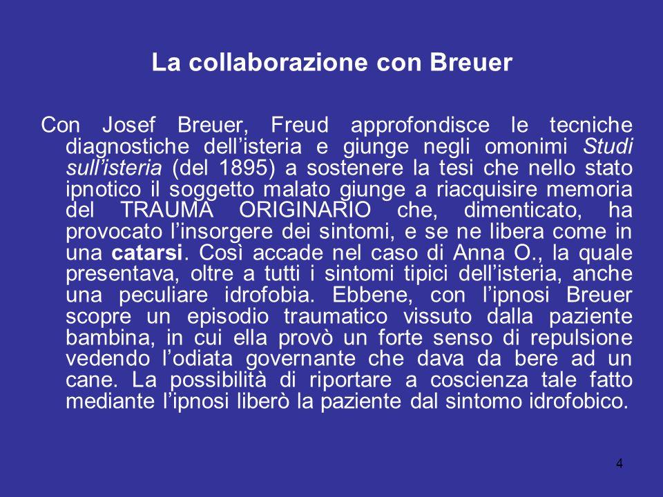 5 Il dissidio con Breuer e il fenomeno della rimozione A differenza di Breuer, Freud si forma la convinzione che il TRAUMA ORIGINARIO dimenticata abbia una natura prevalentemente sessuale (la pulsione).