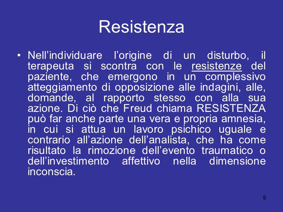 8 Resistenza Nellindividuare lorigine di un disturbo, il terapeuta si scontra con le resistenze del paziente, che emergono in un complessivo atteggiam