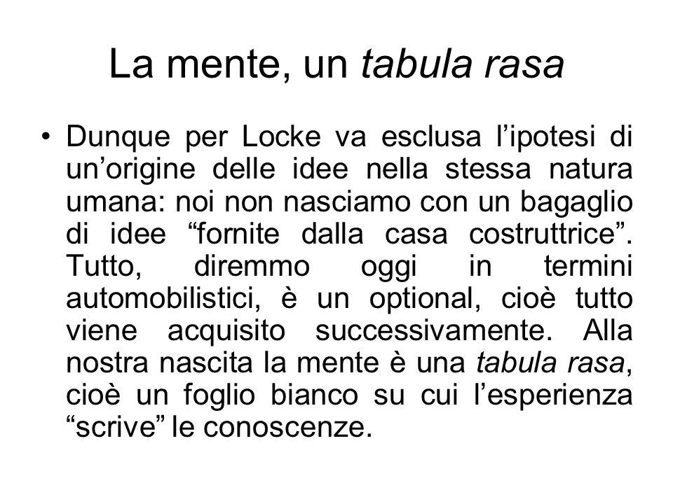 La mente, un tabula rasa Dunque per Locke va esclusa lipotesi di unorigine delle idee nella stessa natura umana: noi non nasciamo con un bagaglio di i