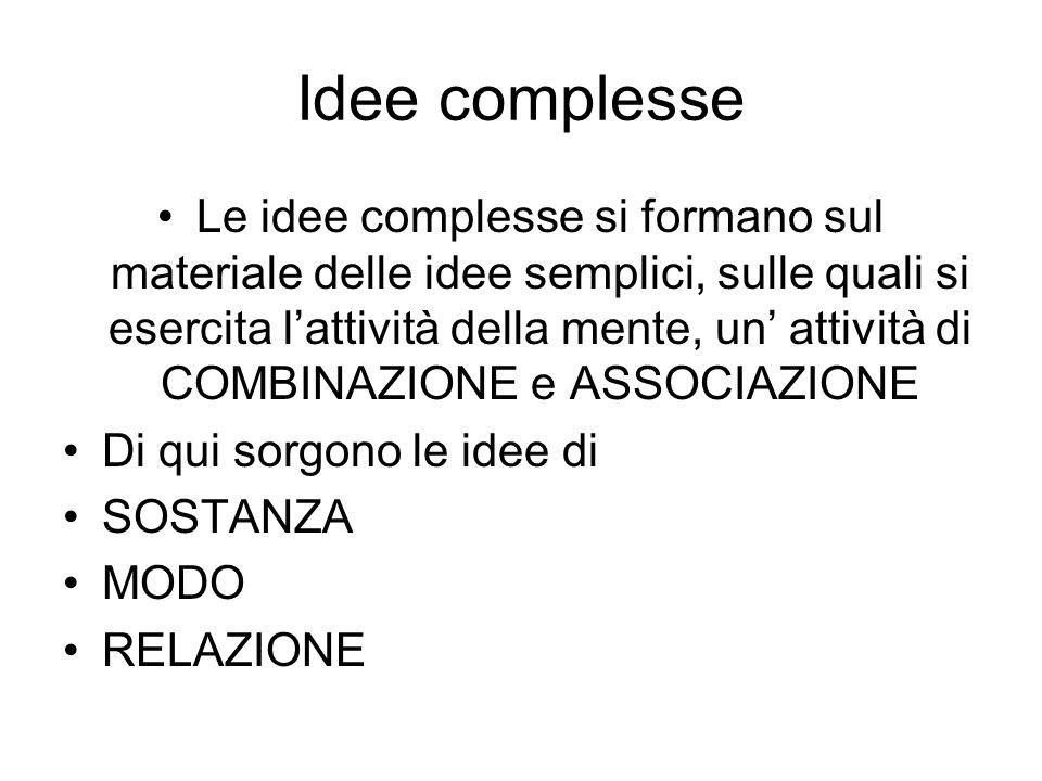Idee complesse Le idee complesse si formano sul materiale delle idee semplici, sulle quali si esercita lattività della mente, un attività di COMBINAZI