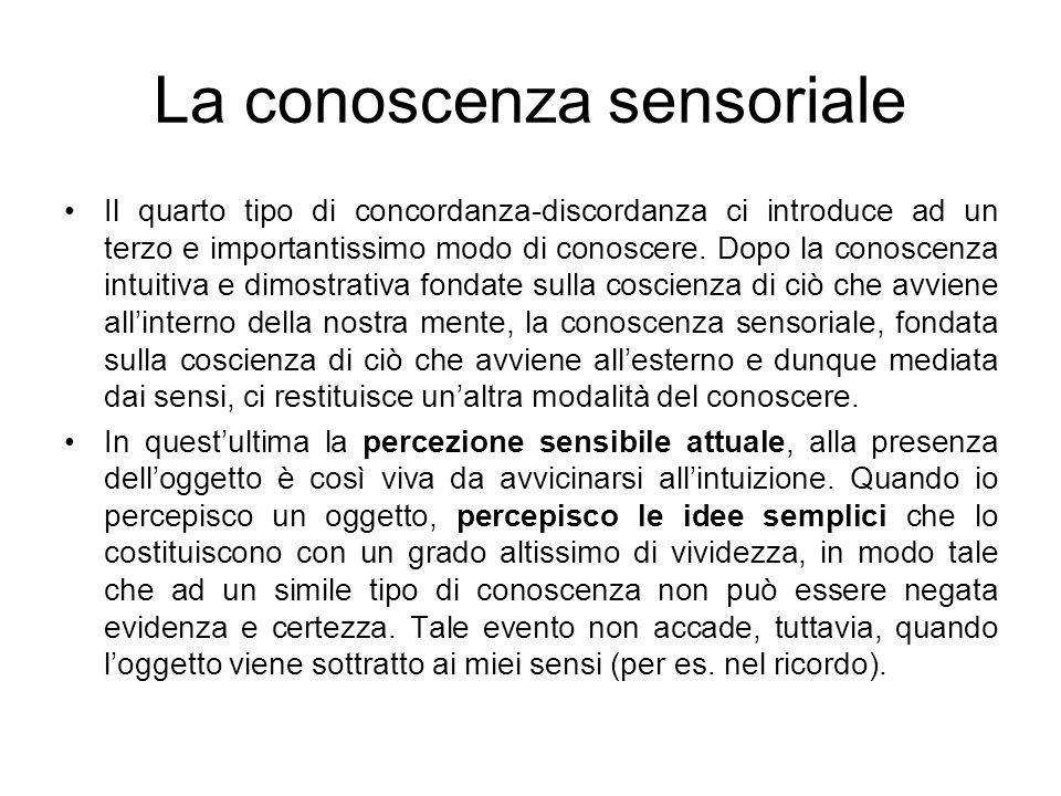 La conoscenza sensoriale Il quarto tipo di concordanza-discordanza ci introduce ad un terzo e importantissimo modo di conoscere. Dopo la conoscenza in