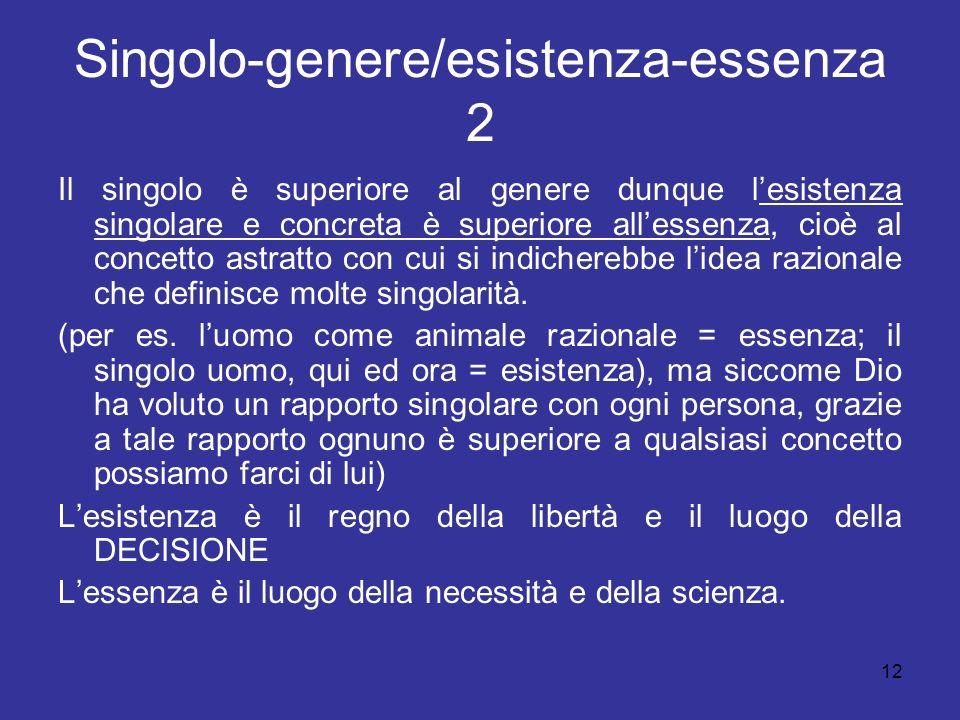 12 Singolo-genere/esistenza-essenza 2 Il singolo è superiore al genere dunque lesistenza singolare e concreta è superiore allessenza, cioè al concetto