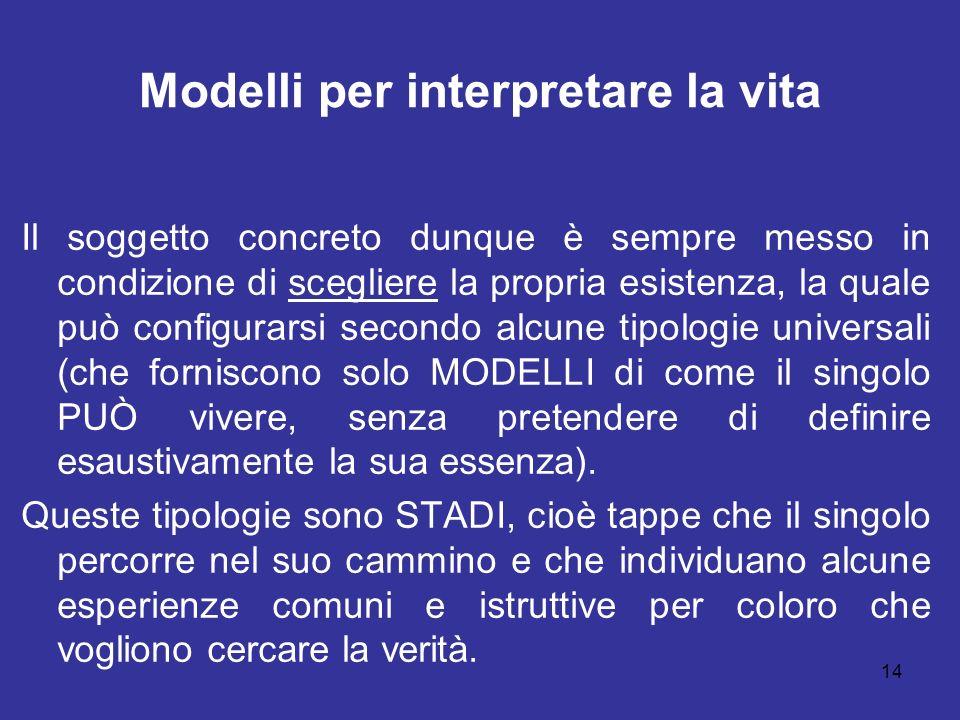 14 Modelli per interpretare la vita Il soggetto concreto dunque è sempre messo in condizione di scegliere la propria esistenza, la quale può configura