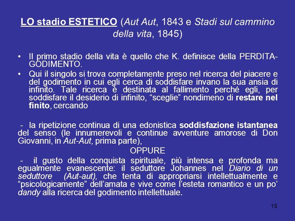 15 LO stadio ESTETICO (Aut Aut, 1843 e Stadi sul cammino della vita, 1845) Il primo stadio della vita è quello che K. definisce della PERDITA- GODIMEN