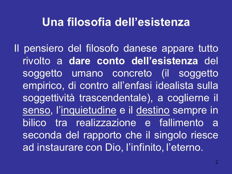 2 Una filosofia dellesistenza Il pensiero del filosofo danese appare tutto rivolto a dare conto dellesistenza del soggetto umano concreto (il soggetto