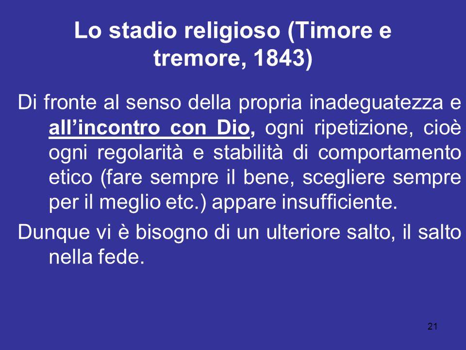 21 Lo stadio religioso (Timore e tremore, 1843) Di fronte al senso della propria inadeguatezza e allincontro con Dio, ogni ripetizione, cioè ogni rego