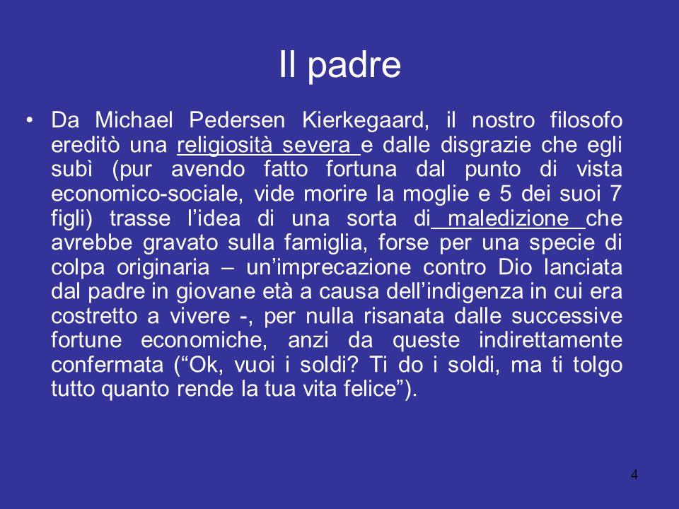 4 Il padre Da Michael Pedersen Kierkegaard, il nostro filosofo ereditò una religiosità severa e dalle disgrazie che egli subì (pur avendo fatto fortun