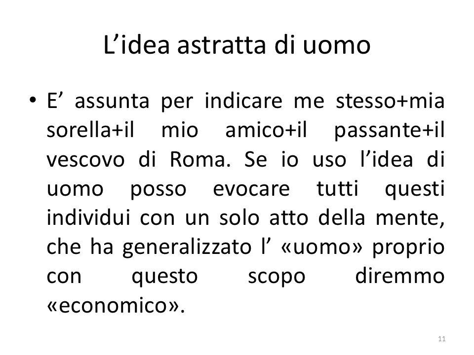 Lidea astratta di uomo E assunta per indicare me stesso+mia sorella+il mio amico+il passante+il vescovo di Roma. Se io uso lidea di uomo posso evocare