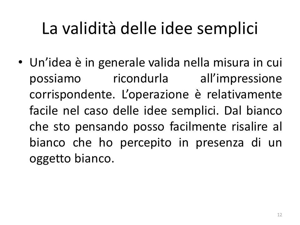 La validità delle idee semplici Unidea è in generale valida nella misura in cui possiamo ricondurla allimpressione corrispondente. Loperazione è relat