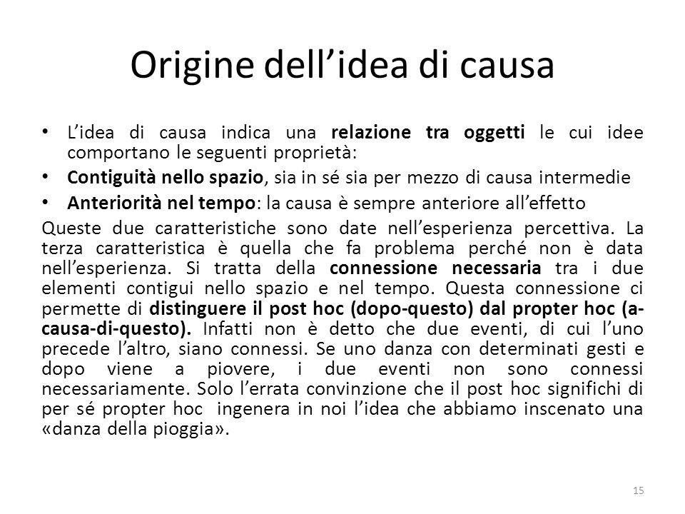Origine dellidea di causa Lidea di causa indica una relazione tra oggetti le cui idee comportano le seguenti proprietà: Contiguità nello spazio, sia i