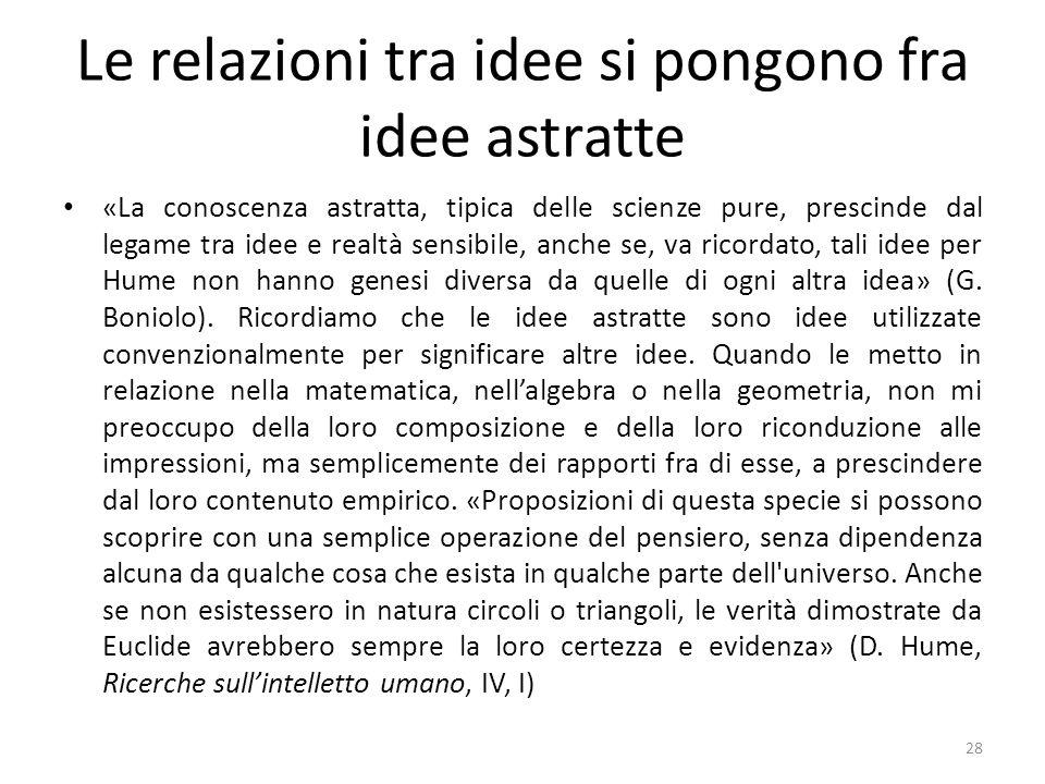 Le relazioni tra idee si pongono fra idee astratte «La conoscenza astratta, tipica delle scienze pure, prescinde dal legame tra idee e realtà sensibil