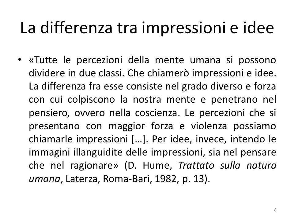 La differenza tra impressioni e idee «Tutte le percezioni della mente umana si possono dividere in due classi. Che chiamerò impressioni e idee. La dif