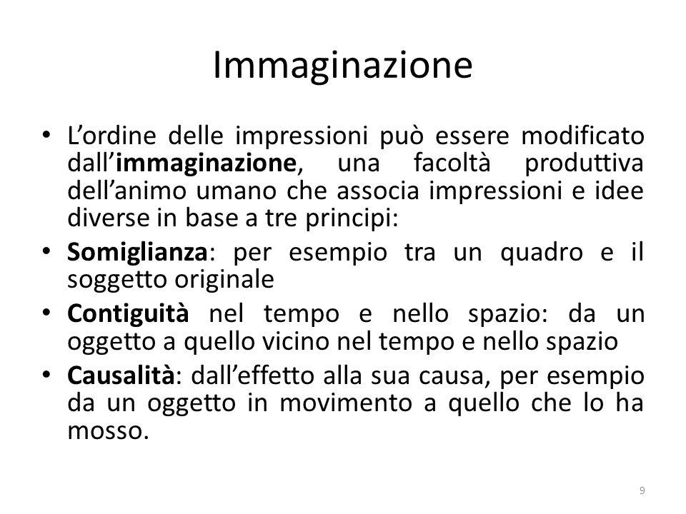Immaginazione Lordine delle impressioni può essere modificato dallimmaginazione, una facoltà produttiva dellanimo umano che associa impressioni e idee