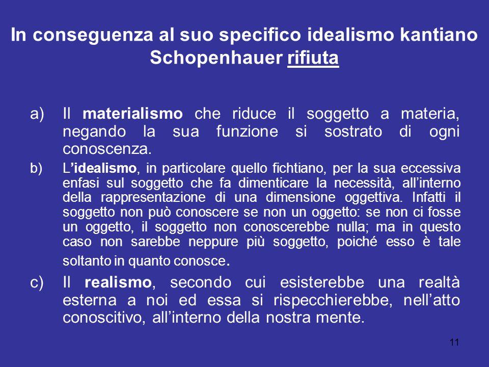 In conseguenza al suo specifico idealismo kantiano Schopenhauer rifiuta a)Il materialismo che riduce il soggetto a materia, negando la sua funzione si