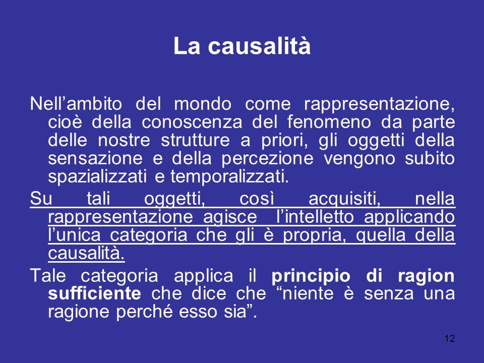 La causalità Nellambito del mondo come rappresentazione, cioè della conoscenza del fenomeno da parte delle nostre strutture a priori, gli oggetti dell