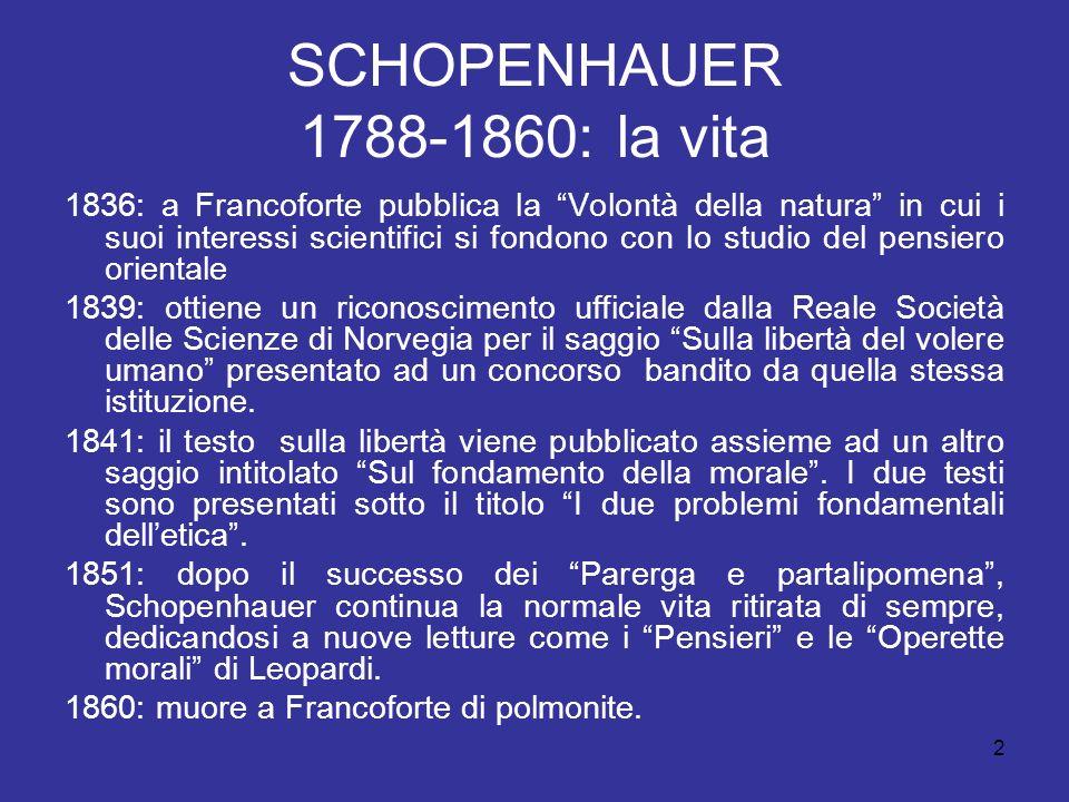 SCHOPENHAUER 1788-1860: la vita 1836: a Francoforte pubblica la Volontà della natura in cui i suoi interessi scientifici si fondono con lo studio del