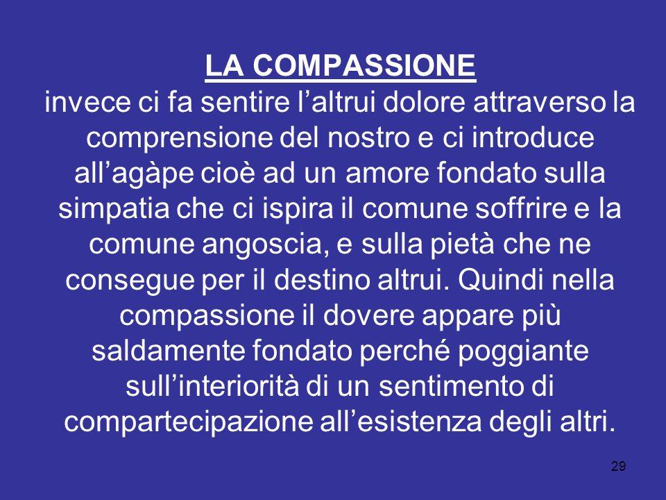 LA COMPASSIONE invece ci fa sentire laltrui dolore attraverso la comprensione del nostro e ci introduce allagàpe cioè ad un amore fondato sulla simpat