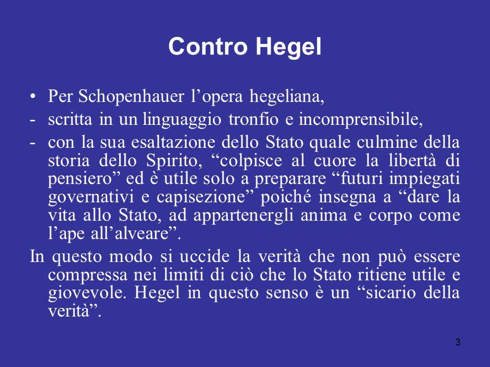 Contro Hegel Per Schopenhauer lopera hegeliana, -scritta in un linguaggio tronfio e incomprensibile, -con la sua esaltazione dello Stato quale culmine