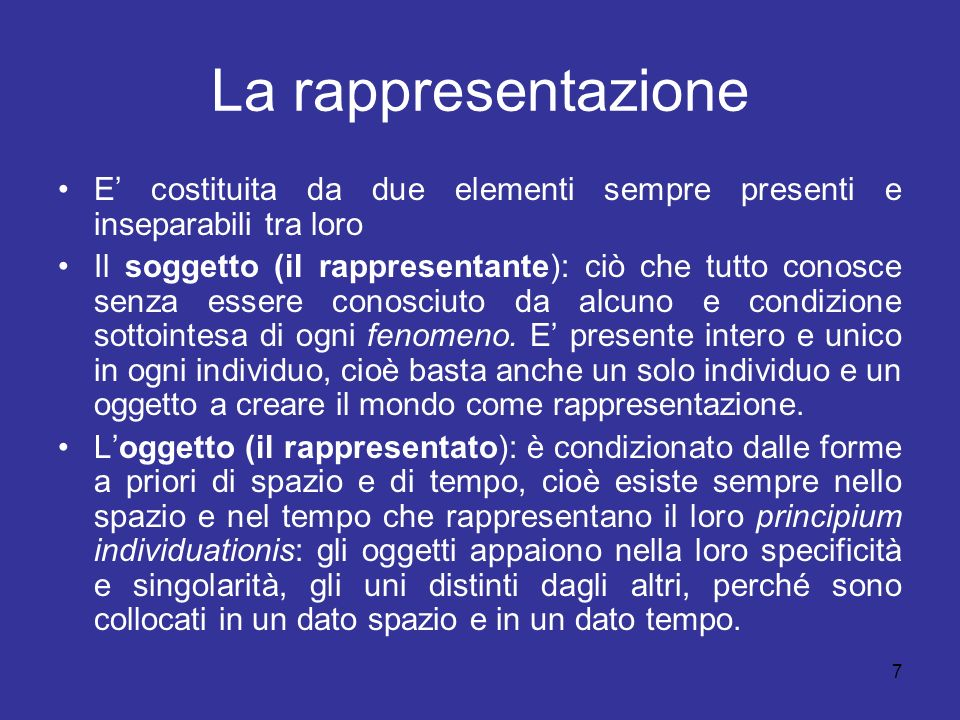 La rappresentazione E costituita da due elementi sempre presenti e inseparabili tra loro Il soggetto (il rappresentante): ciò che tutto conosce senza