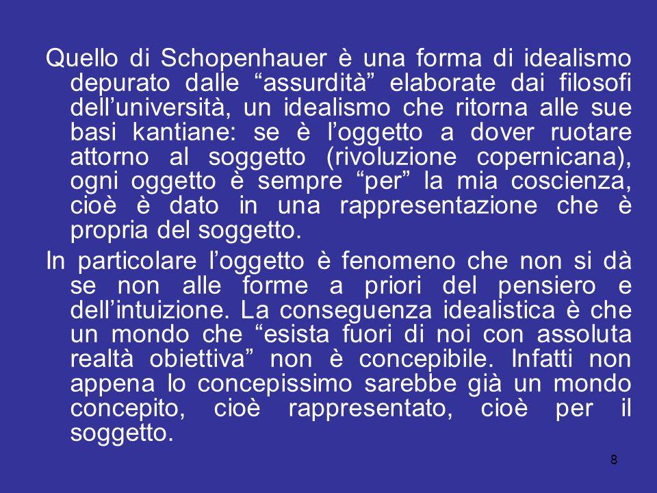 Quello di Schopenhauer è una forma di idealismo depurato dalle assurdità elaborate dai filosofi delluniversità, un idealismo che ritorna alle sue basi