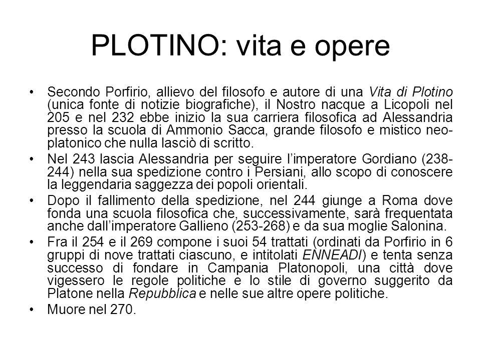 PLOTINO: vita e opere Secondo Porfirio, allievo del filosofo e autore di una Vita di Plotino (unica fonte di notizie biografiche), il Nostro nacque a