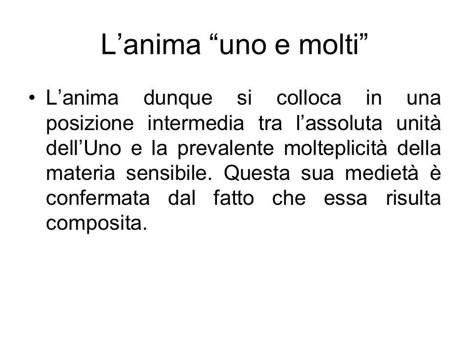 Lanima uno e molti Lanima dunque si colloca in una posizione intermedia tra lassoluta unità dellUno e la prevalente molteplicità della materia sensibi