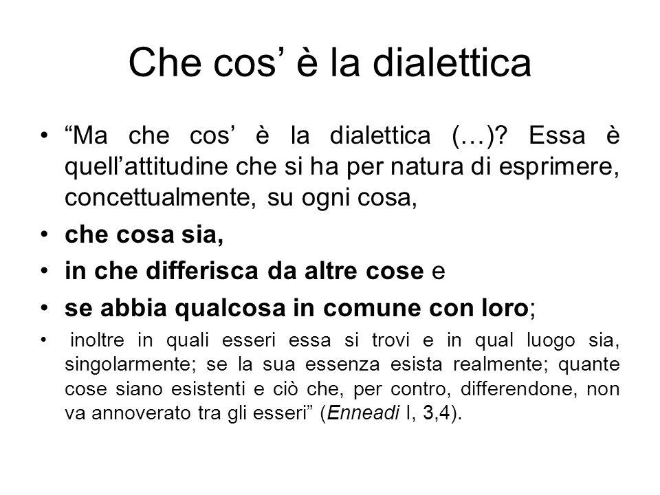 Che cos è la dialettica Ma che cos è la dialettica (…)? Essa è quellattitudine che si ha per natura di esprimere, concettualmente, su ogni cosa, che c
